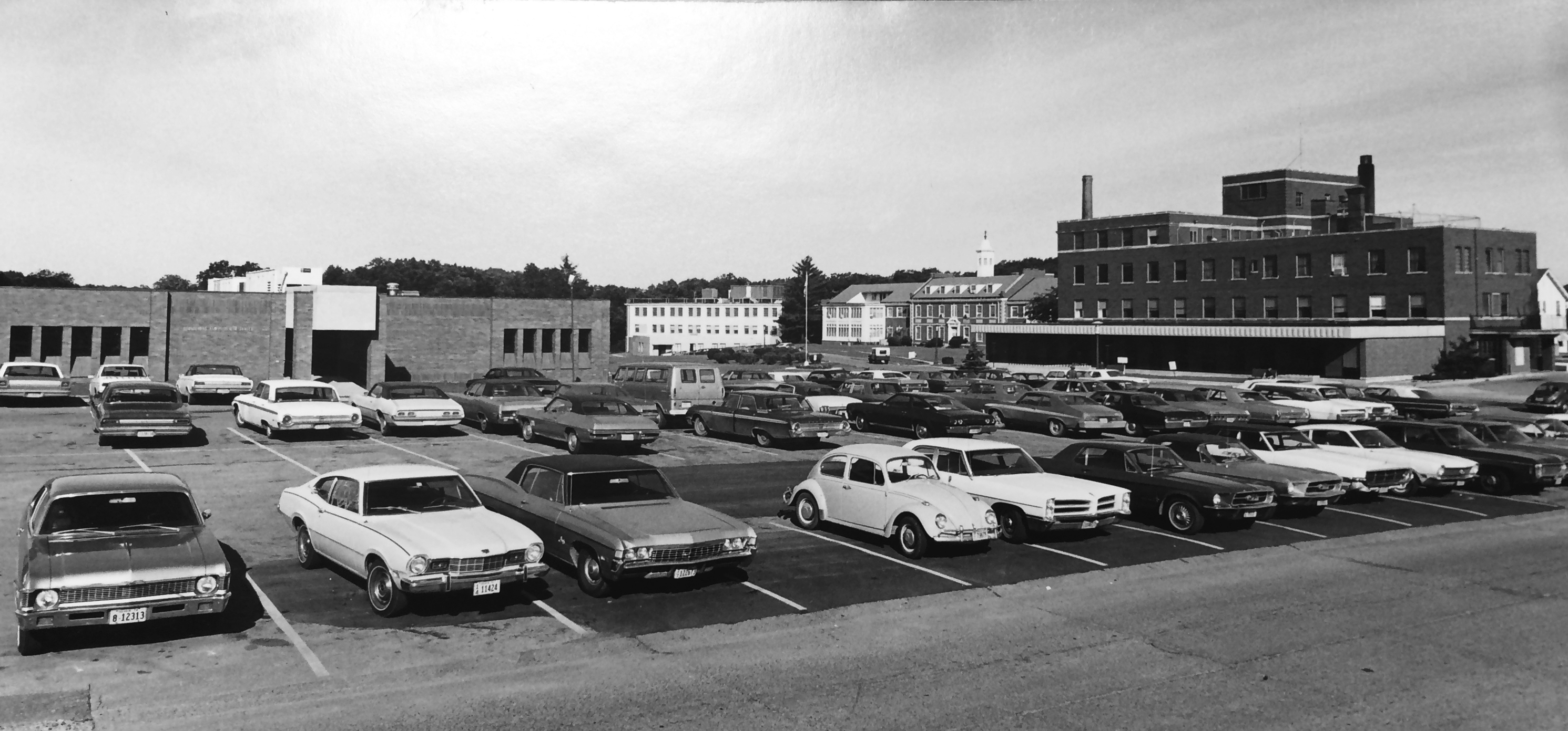 Broadlawns Family Health Center 1970 with time period cars