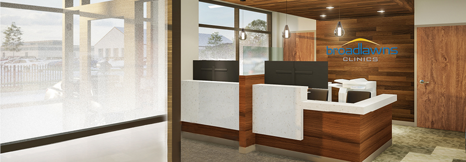 Rendering of check-in desk with wood paneling behind de